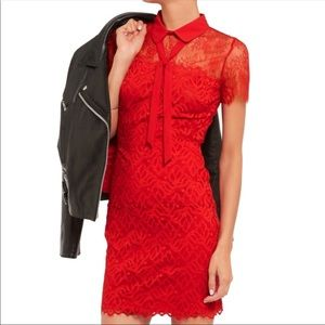 Sandro Rozen Red lace panel bow dress 1 (US S)